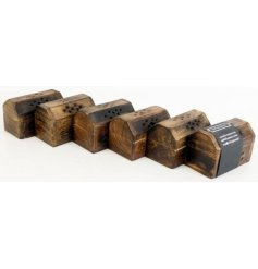 Decorative wooden box with scented incense enclosed making an attractive and practical gift.
