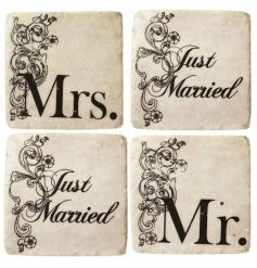 Set of 4 'Just married' coasters. A lovely gift for a newlywed couple