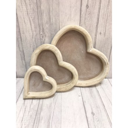 Rustic style set of heart trays making a chic storage item