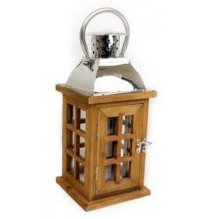 Medium wooden lantern with glass windows, great for summer garden parties or for in the home