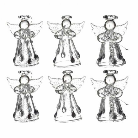 Hanging Glass Angel Set of 6