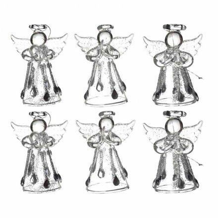 Hanging Glass Angel Set of 6