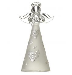 Assorted glass angel decoration with intricate heart design and silver ribbon to hang.