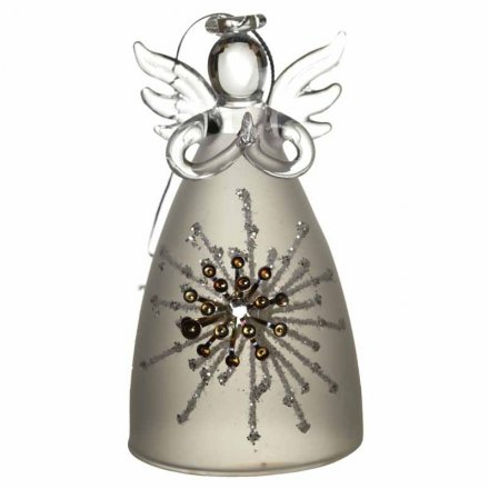 Wide bodied glass angel decorations with glitter and gem decorations.