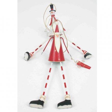Long Leg Metal Santa/Snowman, 2a