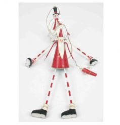Festive red and white metal santa and snowman decorations with stripe legs.