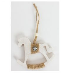 White wooden rocking horse decoration with a jute string wrap and silver star detail.