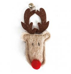 A festive little hanging felt Reindeer head complete with a red nose and jingling bell