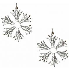 A stunning set of glass snowflakes with a touch of gold.