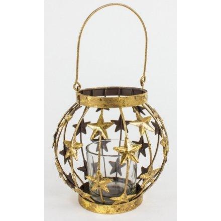 Metal Gold Lantern w Stars 11cm