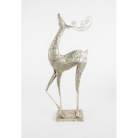 Silver Standing Reindeer, Large 48cm
