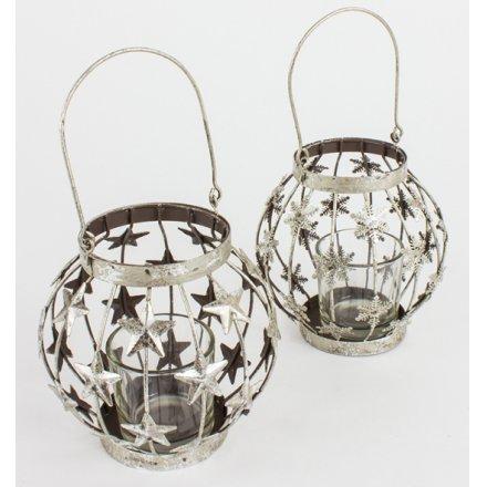 Metal Hanging Silver Lantern, Mix 2
