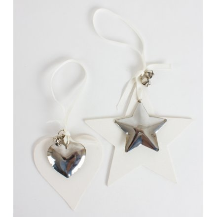Christmas Wooden/Metal Hanging Heart/Star, 2a