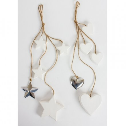 Christmas Wooden Hanging Heart and Star, 2a