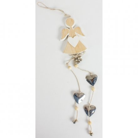 Chic and simple wooden angel decoration with white heart and hanging silver heart garland.
