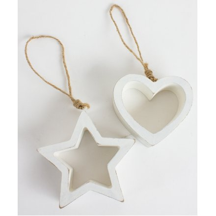 Ff862 Chunky Wooden Hanging Heart And Star 2a 19591 Christmas