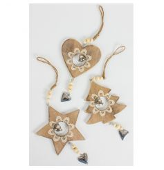 Vintage wooden decorations in a heart, star and tree design with cream floral detailing, beads and a silver heart.