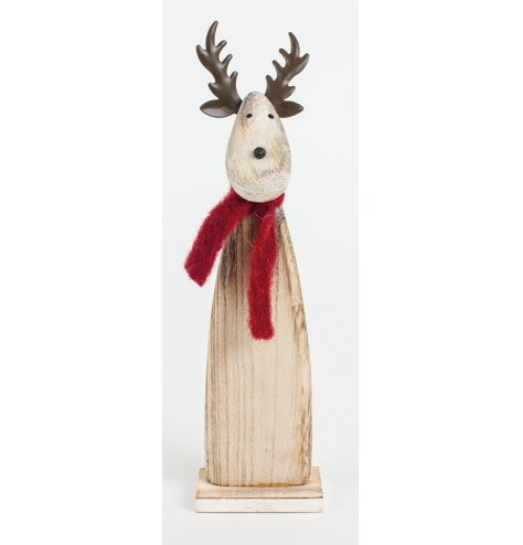 A rustic wooden reindeer decoration with a red felt scarf and metal antlers.