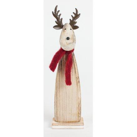 Wooden Reindeer W/Scarf Decoration