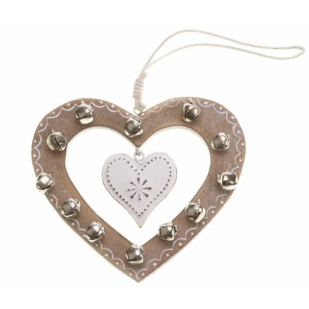 Hanging Wooden Heart With Bells