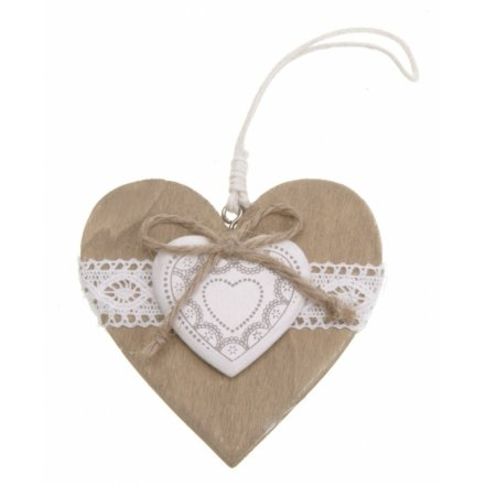 Hanging Wooden Heart With Lace
