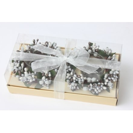 Berry White Candle Ring Gift Box/Bow