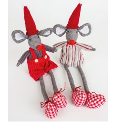 Soft and chic red, white and grey sitting mouse with gingham booties and festive outfit.