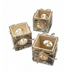 An assortment of rustic woodland t-light holders with a bark finish and intricate festive scene.