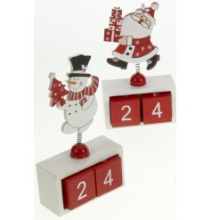 Small red and white Christmas calendar with santa, snowman & reindeer on springs.