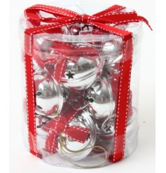 A set of beautifully boxed silver bells with stitched red and white ribbon.