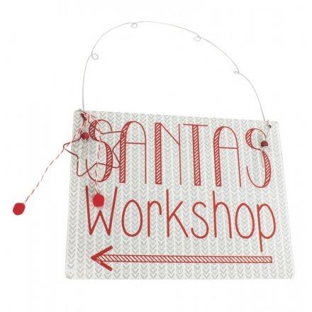 Wooden Santas Workshop Sign