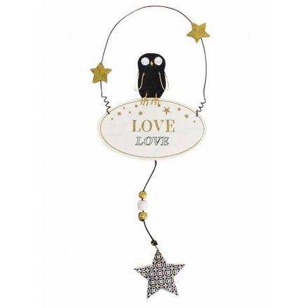 Hanging Wooden Owl w/Love Sign 30cm