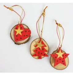 Unique wooden decorations with red and gold decorative shapes in star, heart and tree designs.