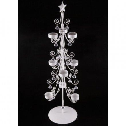 Tree Candle Holder W/Crystals, Large