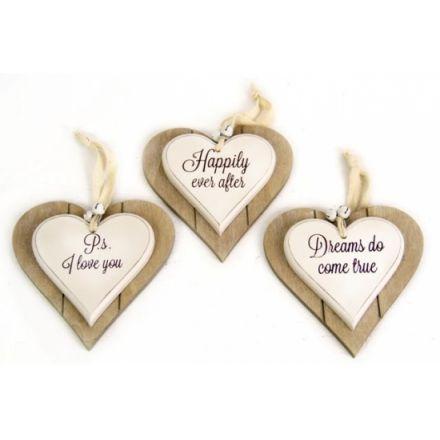 Double Layer Heart Deco 3 Asstd 12cm