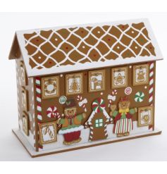 Wooden advent calendar in a festive Gingerbread House design