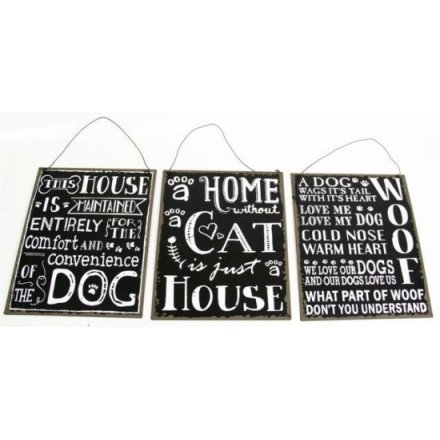 Black and White Pet Signs 3a 24cm