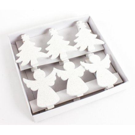 Wooden Tree/Angel Pegs, Set 6