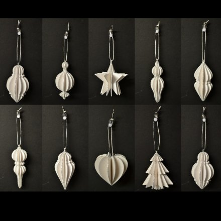 Wooden White/Glitter Hanging Decorations, 10a