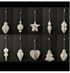 An assortment of contemporary 3D wooden decorations with a silver glitter trim and white and black ribbon to hang.