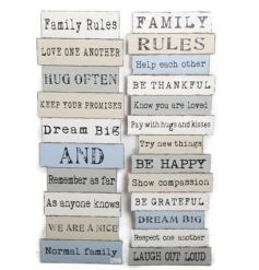 2 Assorted wall plaques with all the family rules