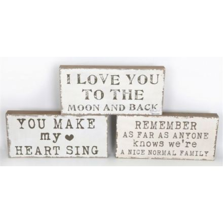 Chunky Slogan Plaques 40cm 3 Assorted