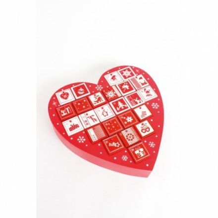 Red and White Advent Heart