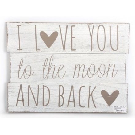 Love You Moon Panel Wall Plaque