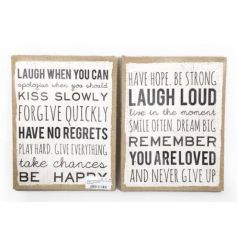 Wall hanging slogan plaques made from a hessian material and sold as an assortment of 2