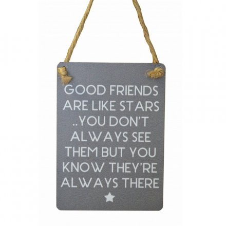 Good Friends Stars Mini Grey Metal Sign