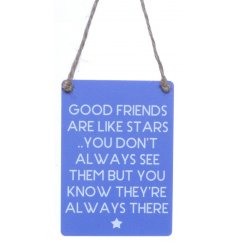 Small sign with lovely friendship text and star illustration.