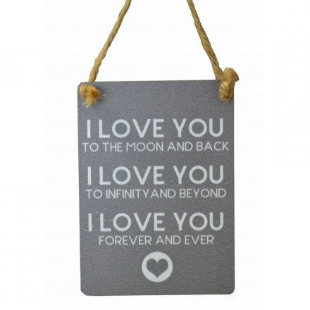 I Love You Mini Grey Metal Sign