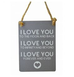 Small metal sign with three cute 'I Love You' messages and heart illustration, finished with curved edges and jute strin