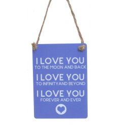 A sweetly scripted mini metal sign set with a blue base tone
